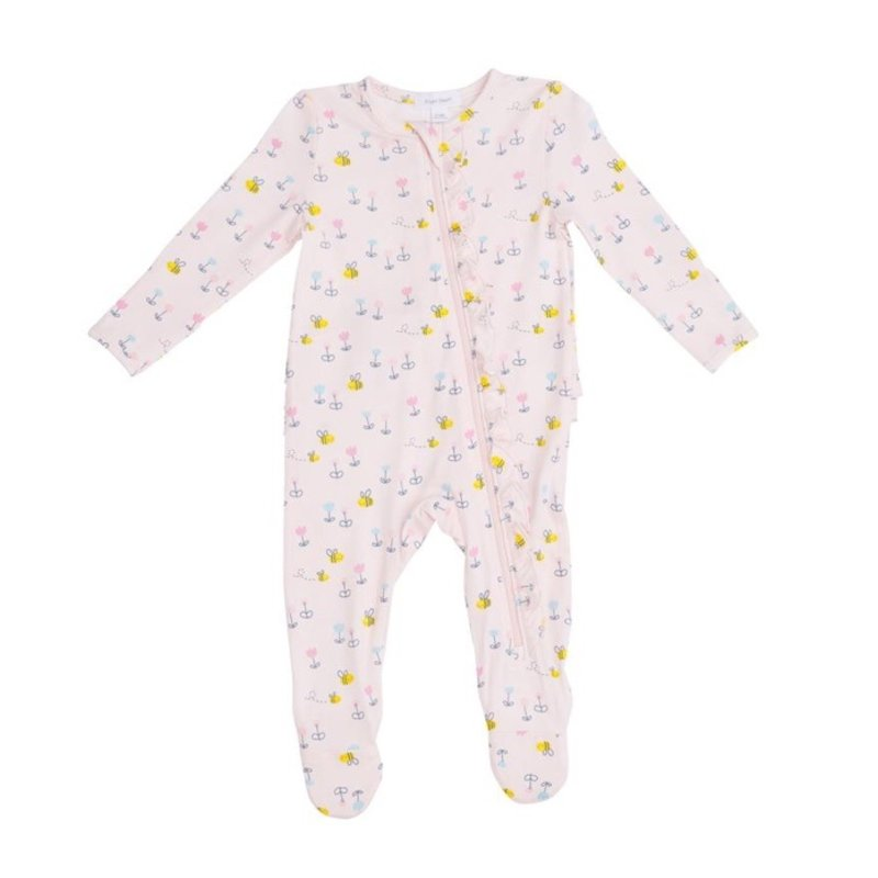 ANGEL DEAR LITTLE BEE RUFFLE FRONT ZIPPER FOOTIE