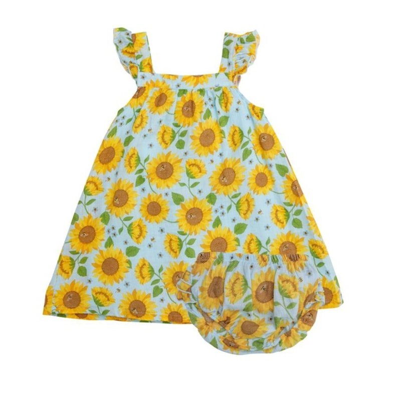 ANGEL DEAR SUNFLOWERS SUNDRESS W DIAPER COVER- WHISPERING BLUE