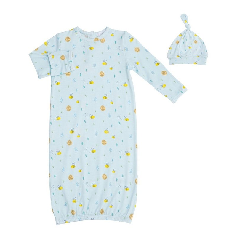 ANGEL DEAR LITTLE BEE GOWN AND HAT- BLUE