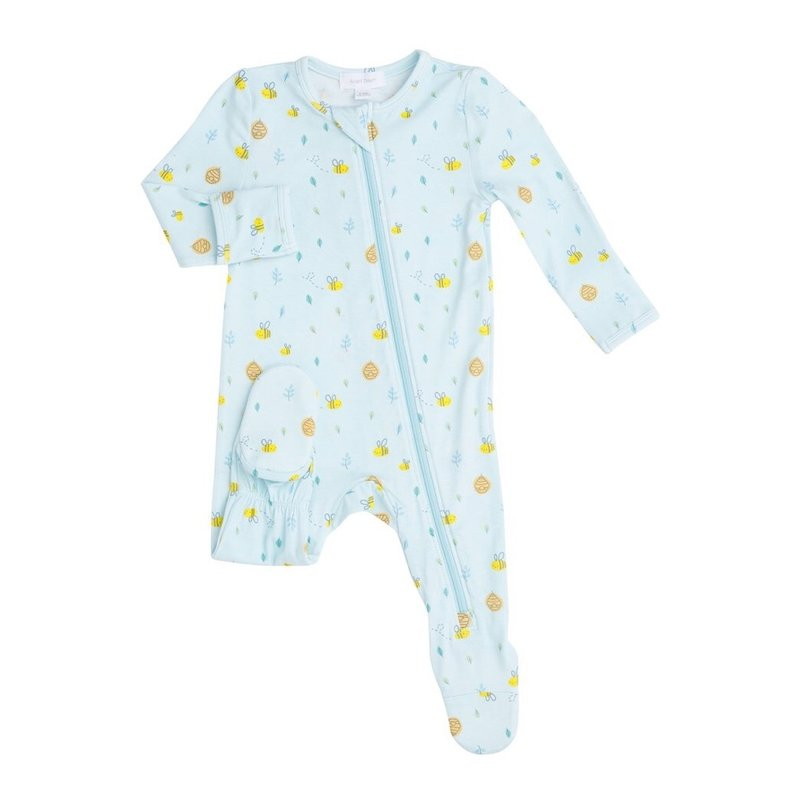 ANGEL DEAR LITTLE BEE ZIPPER FOOTIE- BLUE
