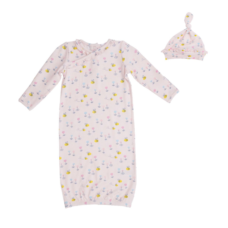 ANGEL DEAR LITTLE BEE KIMONO GOWN AND HAT- PINK