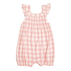 ANGEL DEAR GINGHAM SMOCKED OVERALL SHORTIE- PINK