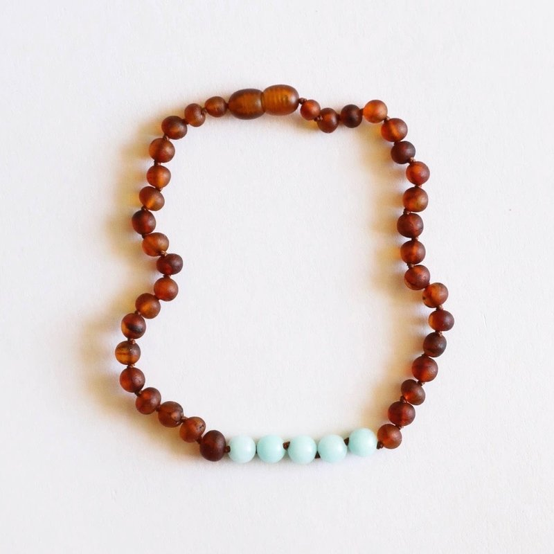 CanyonLeaf RAW COGNAC AMBER + AMAZONITE NECKLACE