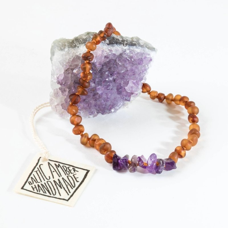 CanyonLeaf RAW COGNAC AMBER + RAW AMETHYST NECKLACE