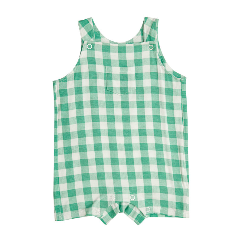 ANGEL DEAR GINGHAM OVERALL SHORTIE- GREEN