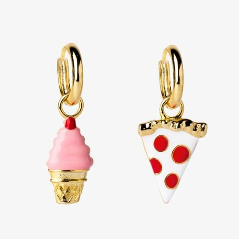 YELLOW OWL WORKSHOP HOOP EARRINGS - PIZZA AND ICE CREAM