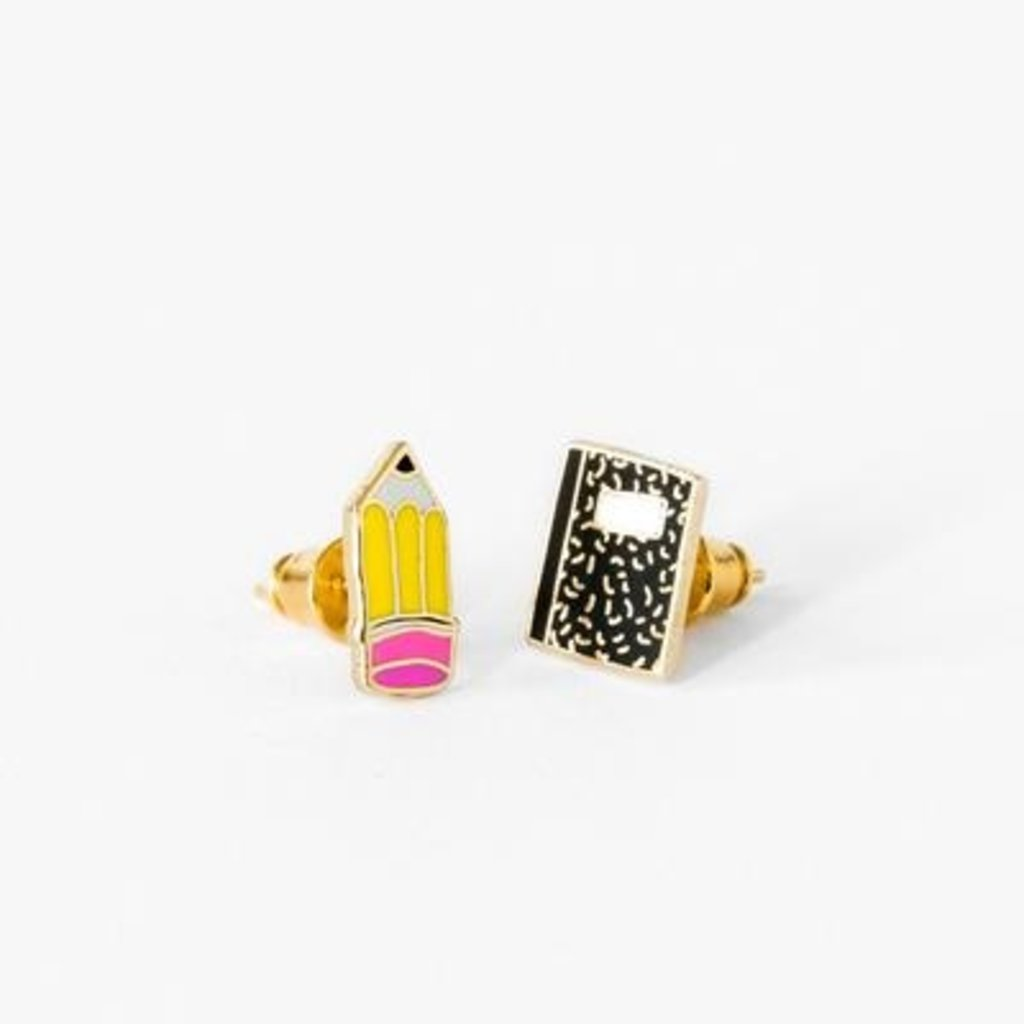 YELLOW OWL WORKSHOP EARRINGS - PENCIL & COMPOSITION BOOK
