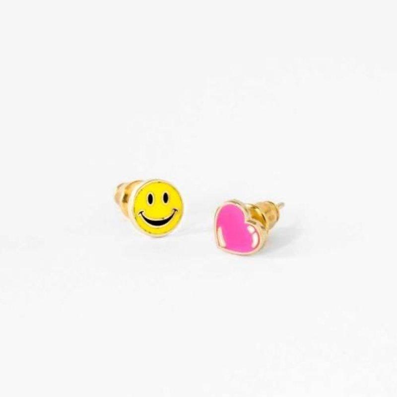 YELLOW OWL WORKSHOP EARRINGS - HAPPY FACE & HEART