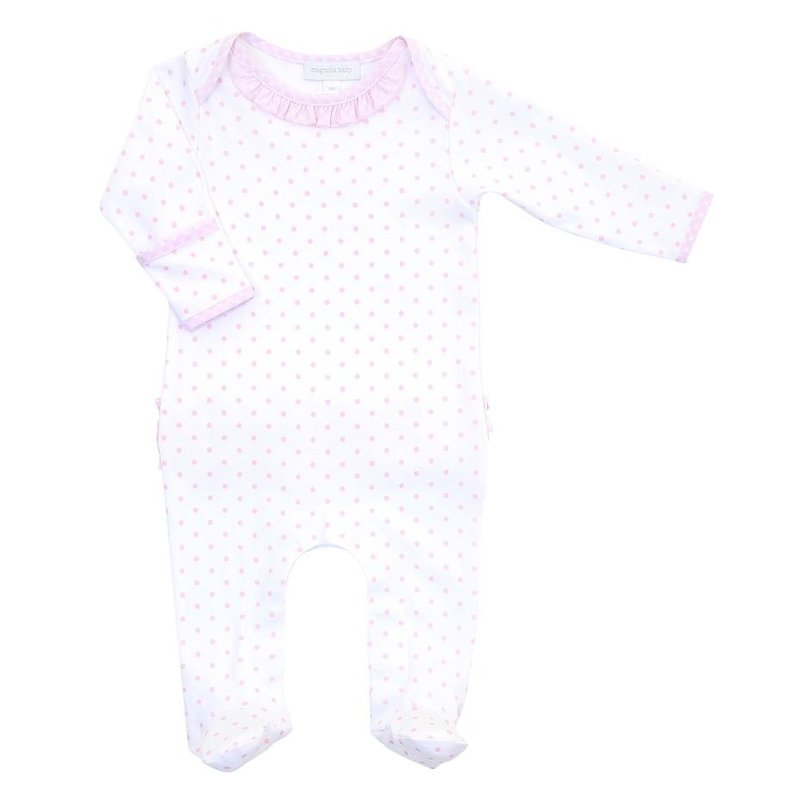 MAGNOLIA BABY GINGHAM DOTS LAP RUFFLE FOOTIE- PK