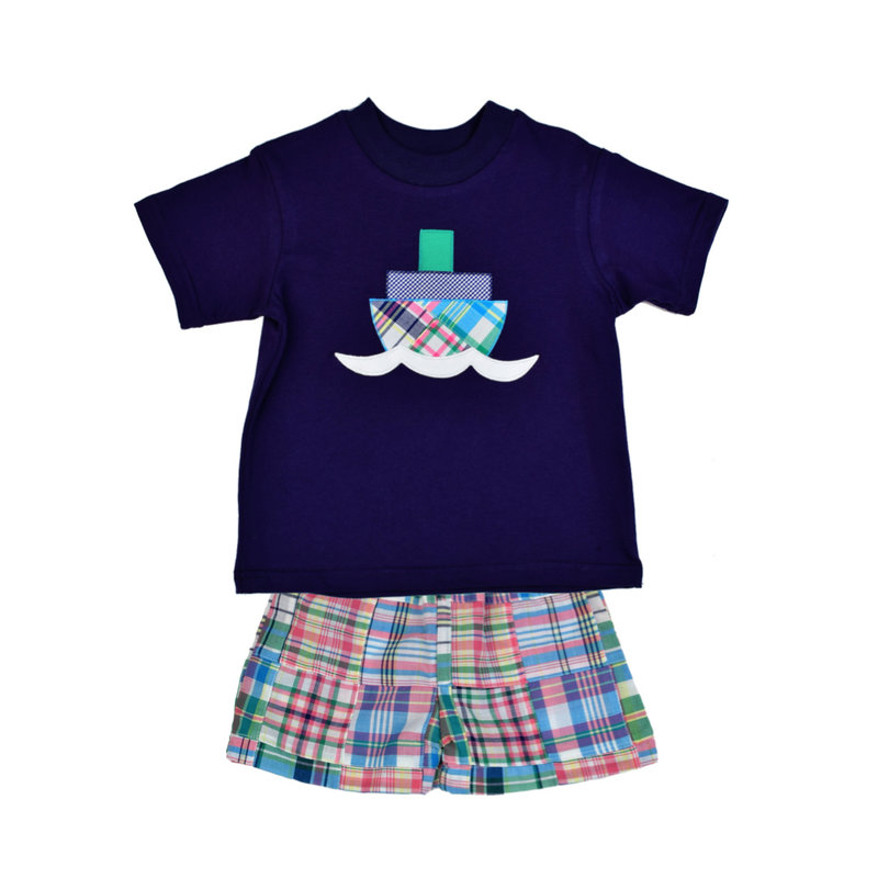 FUNTASIA TOO TUGBOAT TEE AND PATCHWORK SHORT