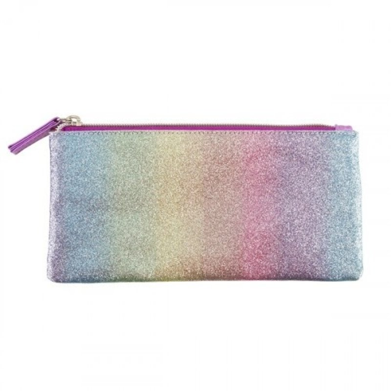 3C4G PINK STRIPED GLITTER PENCIL CASE