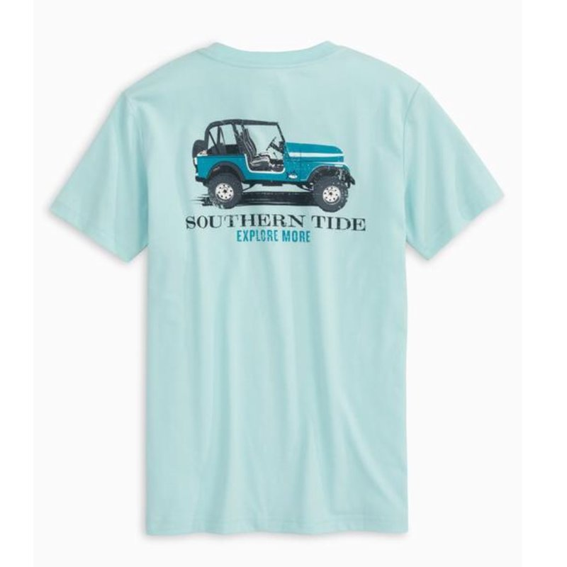 SOUTHERN TIDE Y SS EXPLORE MORE TEE- WAKE BLUE