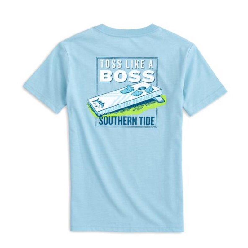 SOUTHERN TIDE Y SS TOSS LIKE A BOSS TEE- DREAM BLUE