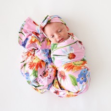 POSH PEANUT KAILEIGH - INFANT SWADDLE AND HEADWRAP SET