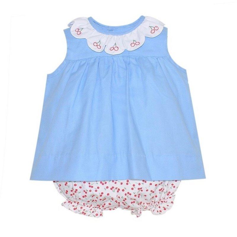 BABY SEN BLUE CHERRIES BLOOMER SET