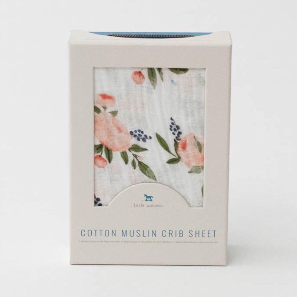 LITTLE UNICORN COTTON MUSLIN CRIB SHEET- WATERCOLOR ROSES
