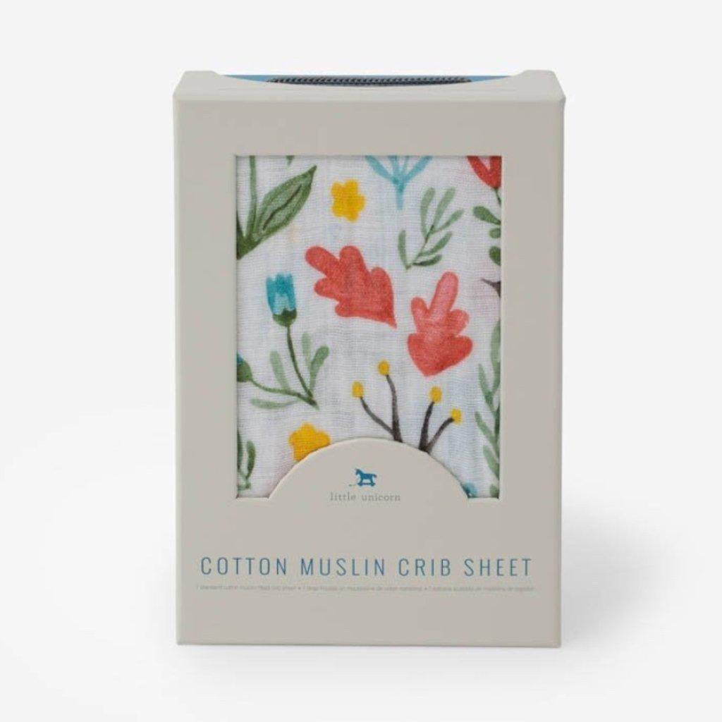LITTLE UNICORN COTTON MUSLIN CRIB SHEET- MEADOW