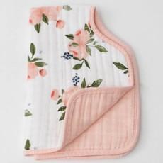 LITTLE UNICORN COTTON MUSLIN BURP CLOTH- WATERCOLOR ROSES