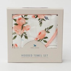 LITTLE UNICORN COTTON HOODED TOWEL AND WASHCLOTH- WATERCOLOR ROSES SET