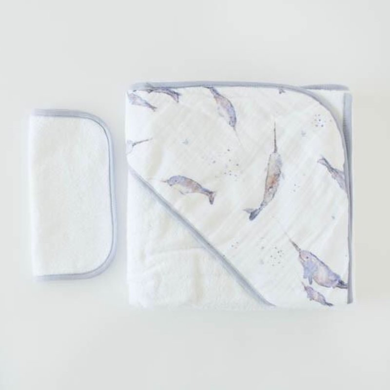 LITTLE UNICORN COTTON HOODED TOWEL AND WASHCLOTH- NARWHAL