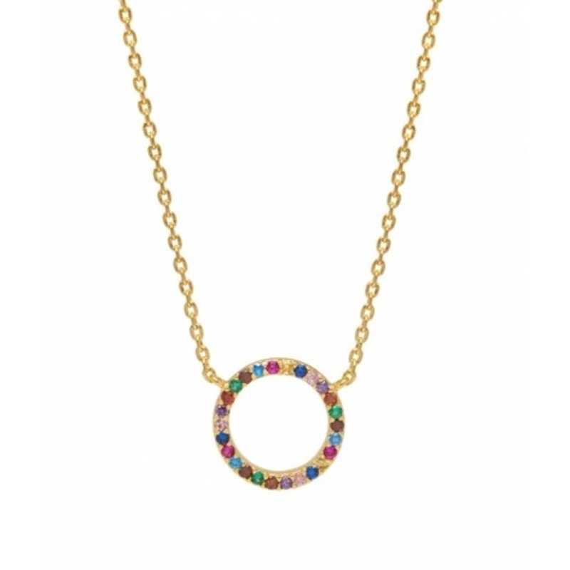 ESTELLA BARTLETT MULTI CZ CIRCLE RAINBOW NECKLACE- GOLD PLATED