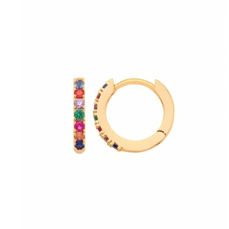 ESTELLA BARTLETT MULTICOLORED PAVE HOOP GOLD PLATED EARRINGS
