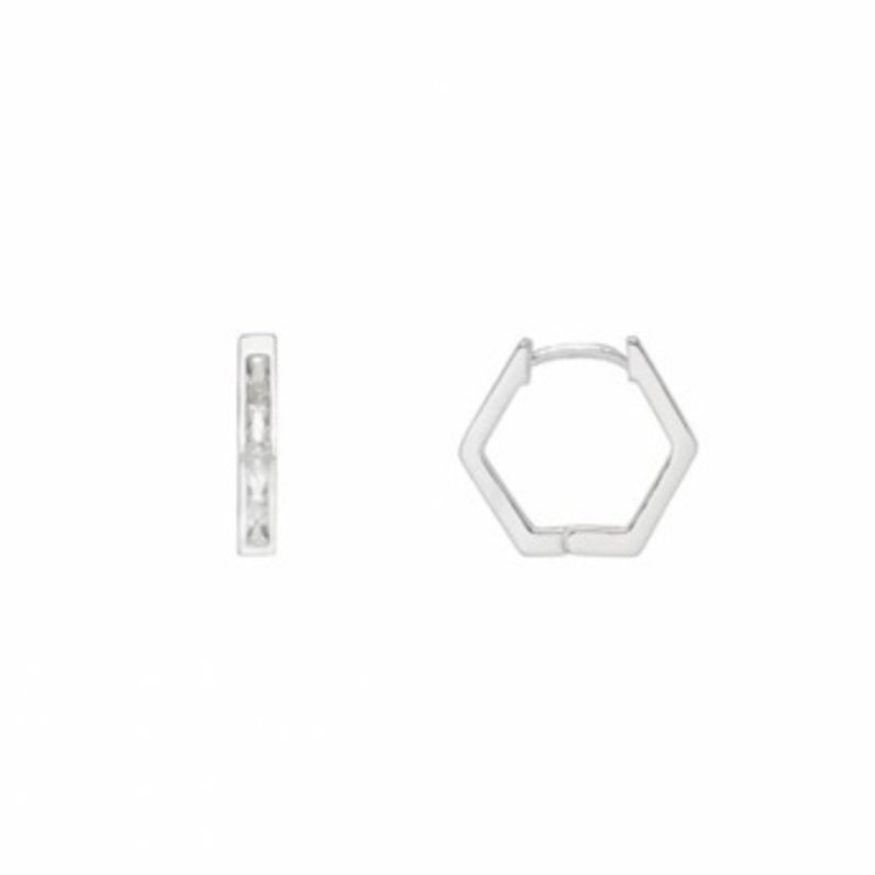ESTELLA BARTLETT BAGUETTE CZ HEXAGON HOOPS