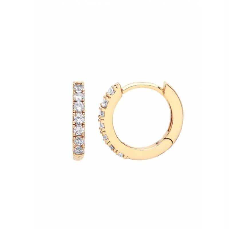 ESTELLA BARTLETT PAVE SET HOOP EARRINGS- GOLD PLATED