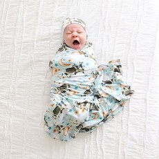 POSH PEANUT TEX - INFANT SWADDLE AND BEANIE SET
