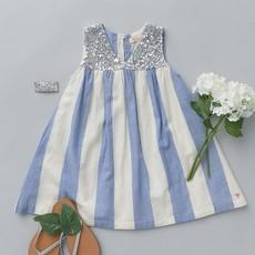 PINK CHICKEN COURTNEY DRESS- RIVIERA/ANTIQUE WHITE STRIPE