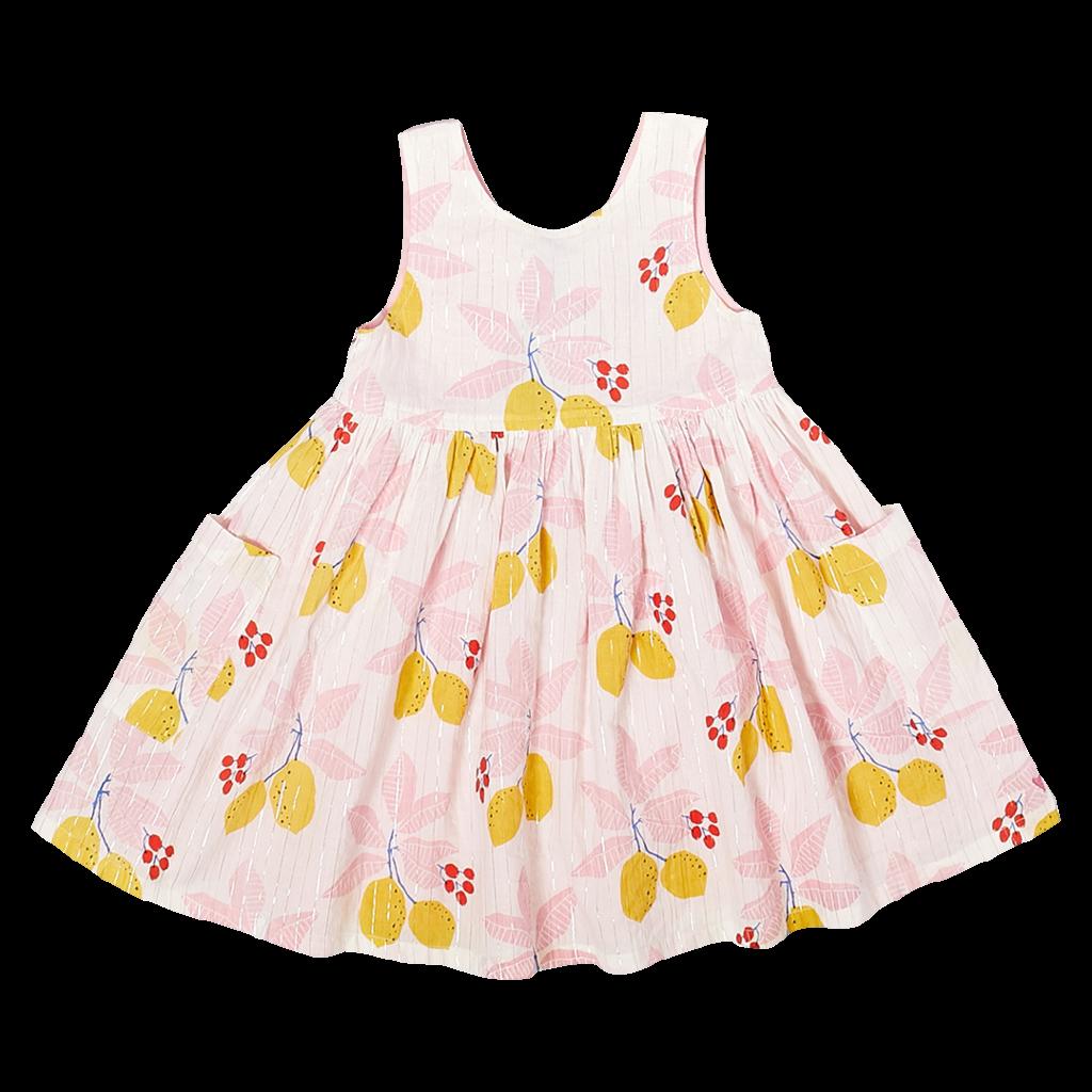 PINK CHICKEN ALYSSA DRESS- ANTIQUE WHITE LEMONS