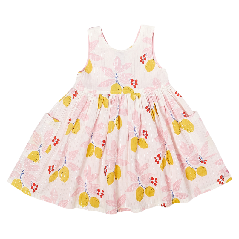 PINK CHICKEN ALYSSA DRESS- ANTIQUE WHITE LEMONS
