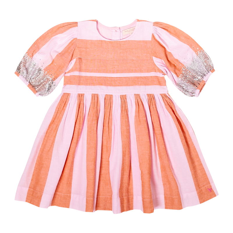 PINK CHICKEN EVELYN DRESS- AMBER GLOW/PINK LADY STRIPE