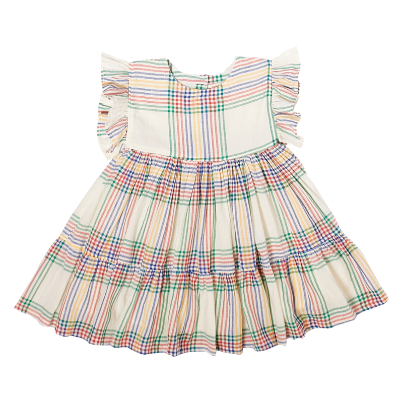 PINK CHICKEN KIT DRESS- ANTIQUE WHITE MULTI PLAID