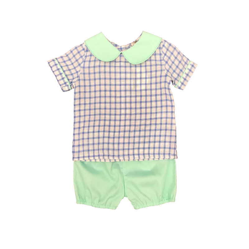 CYPRESS ROW BOYS BLUE SEERSUCKER CHECK AND MINT BUBBLE SHORT SET