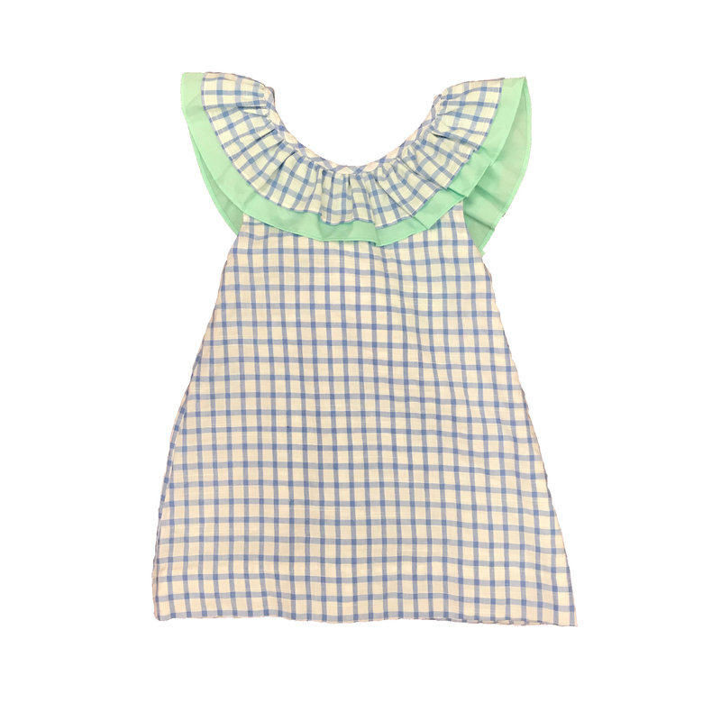 CYPRESS ROW GIRLS BLUE SEERSUCKER CHECK AND MINT DRESS