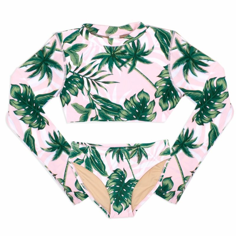 SHADE CRITTERS RASHGUARD SET- PINK PALM