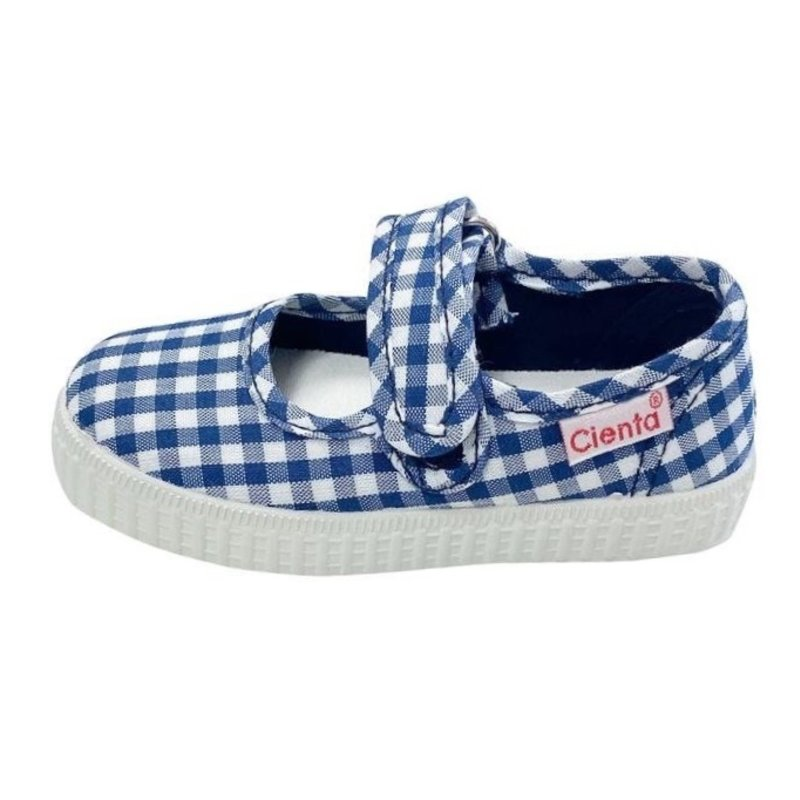 CIENTA SHOES MARY JANE- NAVY GINGHAM