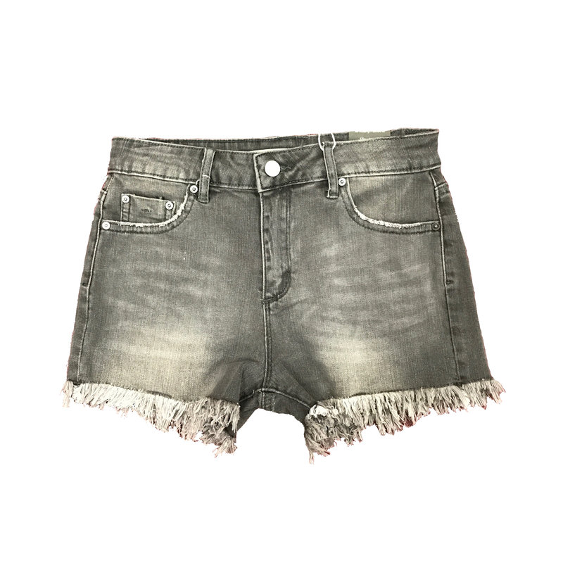 TRACTOR JEANS BRITTANY MID RISE 5PKT FRAY SHORT- GREY