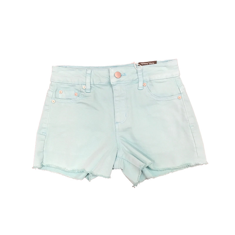 TRACTOR JEANS FRAY HEM DESTRUCTED SHORTS- MINT