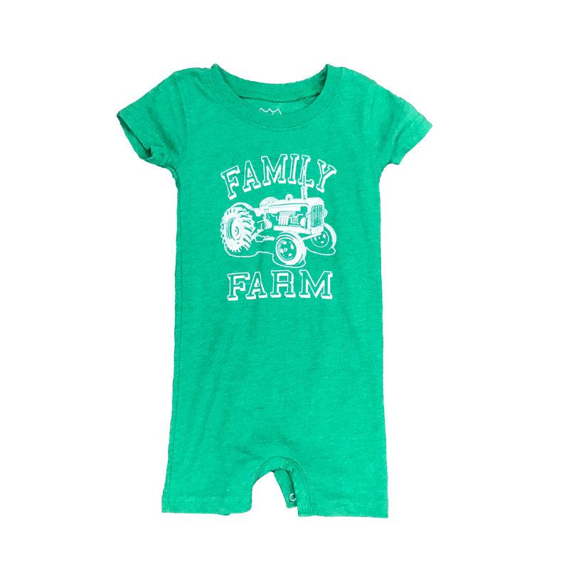WES AND WILLY TRACTOR SHORT ROMPER- CLOVER BLEND