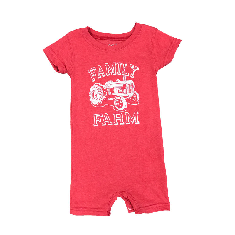 WES AND WILLY TRACTOR SHORT ROMPER- BULLSEYE RED