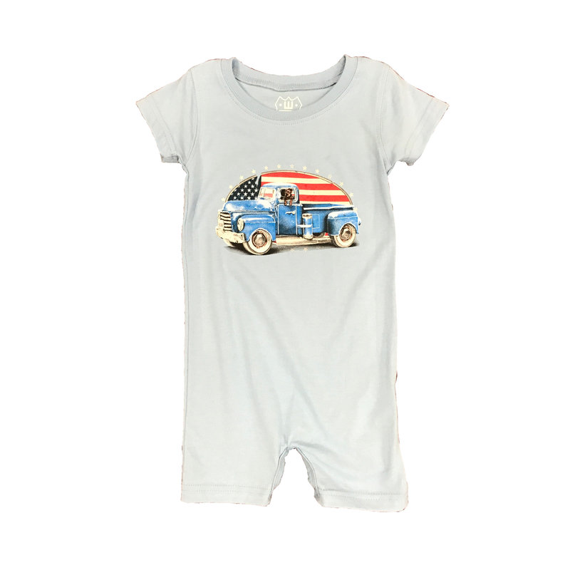 WES AND WILLY PATRIOTIC TRUCK SHORT ROMPER- NC BLUE