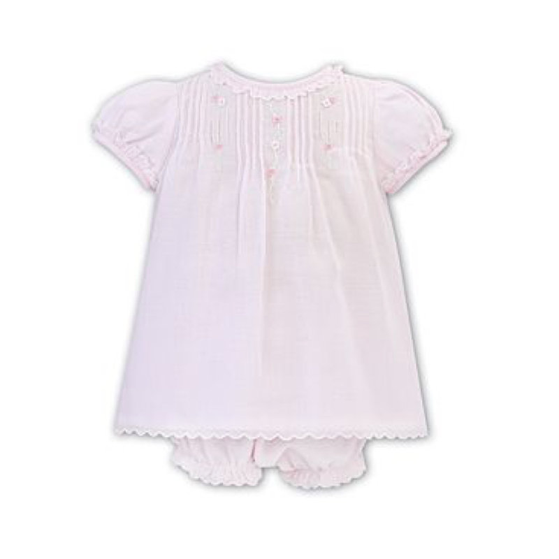 SARAH LOUISE PINK/WHITE VOILE DRESS AND PANTY