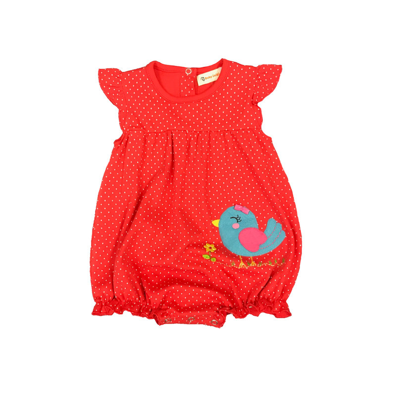 BABY LUIGI SLVLSS RFFL BTT ONESIE- BIRD W BOW/FLWR