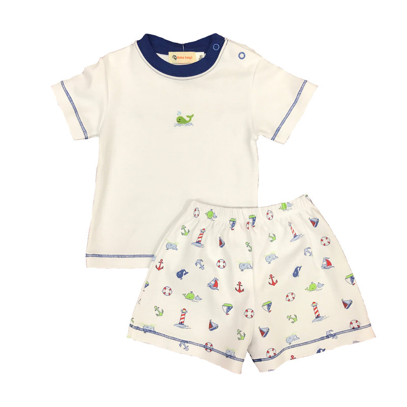 BABY LUIGI NAUTICAL WHALE TEE AND SHORTS
