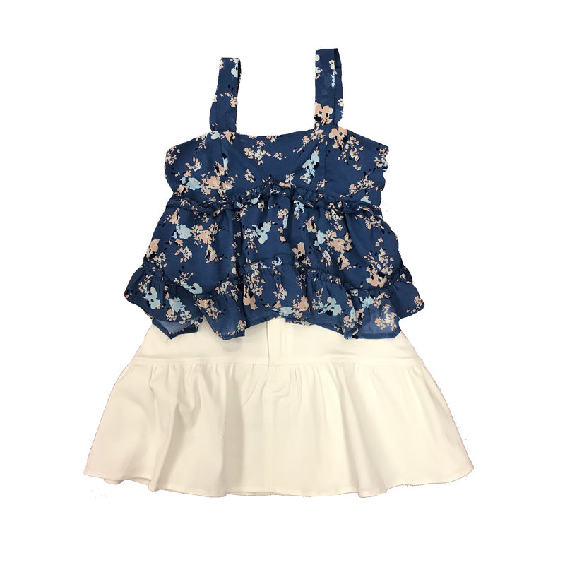 SADIE AND SAGE FLORAL CHIFFON TOP AND DNM RFFLE SKIRT