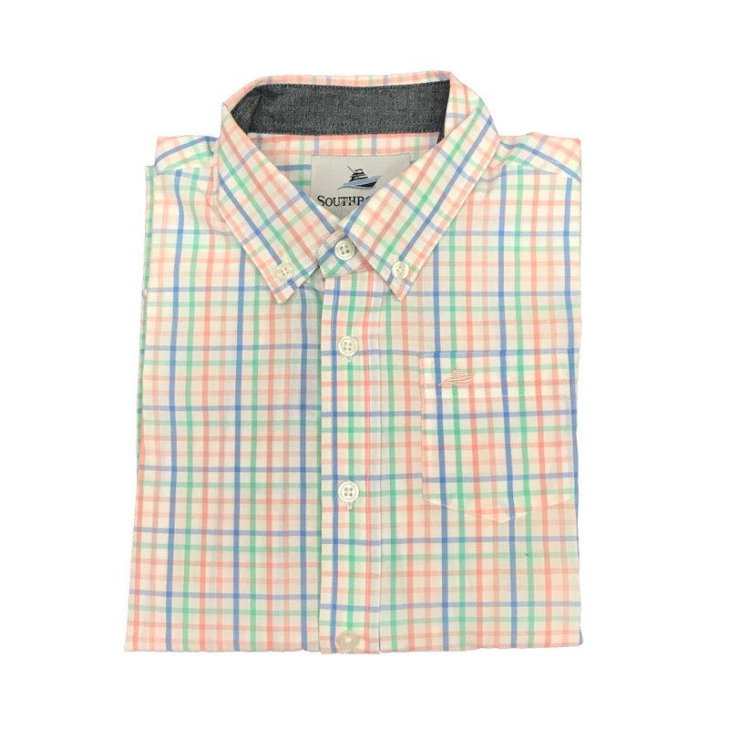 SOUTHBOUND LS DRESS SHIRT- BLUE/PINK/OPAL