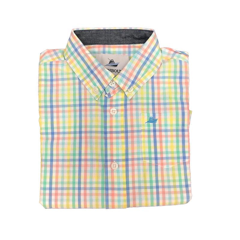 SOUTHBOUND LS DRESS SHIRT- BLUE/YELLOW/OPAL