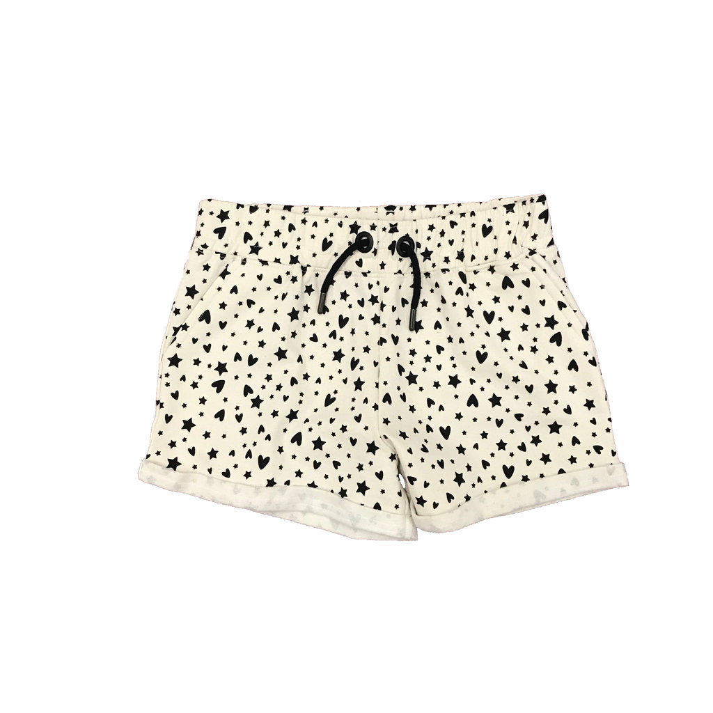 PAPER FLOWER ALL OVER PRINTED STAR ROLL CUFF SHORT